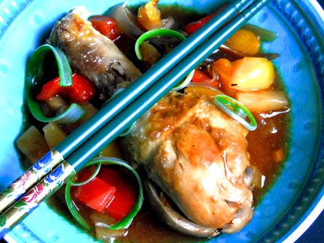 Huhn süß-sauer aus dem Slowcooker.