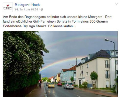 Quelle: Screenshot auf www.facebook.com/Metzgerei.Hack