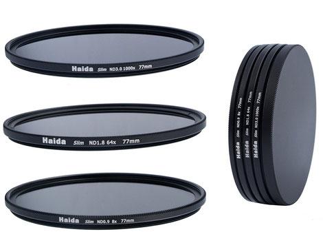 HAIDA Slim Neutral Graufilter Set 77mm bestehend aus ND8, ND64, ND1000 Filtern, Amazon Preis:  ca. 95€