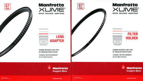 "Links:  Manfrotto ""XUME"" Objektivadapter, Amazon Preis:  ca. 26€; Rechts:  Manfrotto ""XUME"" Filterhalter, Amazon Preis:  ca. 10€"