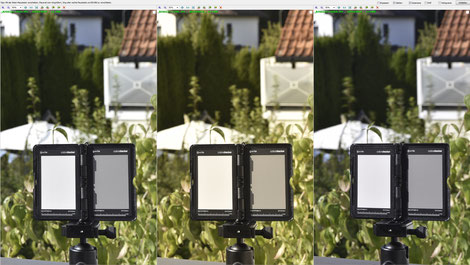 Screenshot:  Aufnahmen ohne ND-Filter (Links), mit Gobe ND1000-Filter (Mitte) und mit Haida ND1000-Filter (Rechts), Dr. Ralph Oehlmann, Oehlmann-Photography