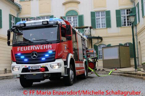 Feuerwehr; Blaulicht; FF Maria Enzersdorf; Zimmerbrand; defekter Heißwasserboiler;