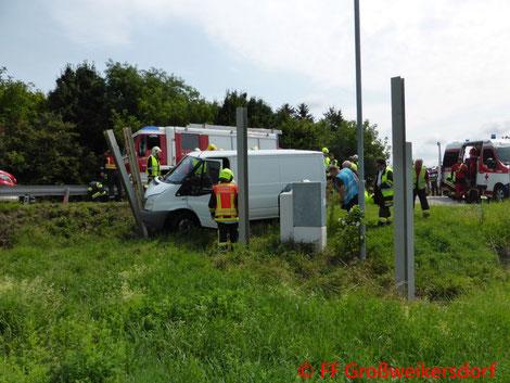 Feuerwehr, Blaulicht, FF Großweikersdorf, PKW, Verkehrsunfall, LB4