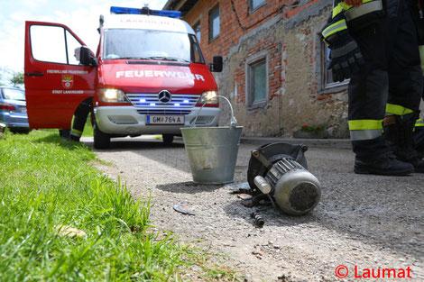 Feuerwehr, Blaulicht, Laakirchen, Brand, Bauernhof, Heizungsanlage
