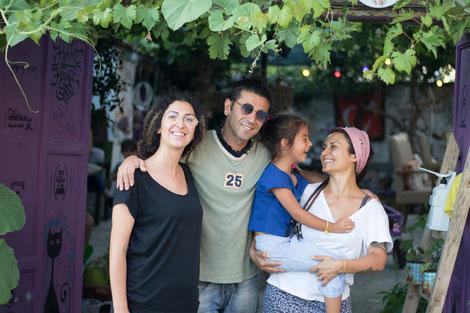 Sinam, Murat, Mavi and Sirma in front of Hobbit House