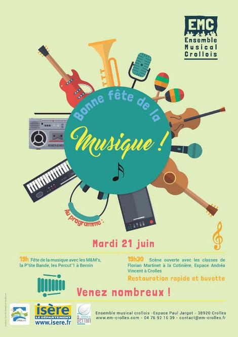 ecole de musique emc crolles-grésivaudan : affiche pour la fête de la musique juin 2016