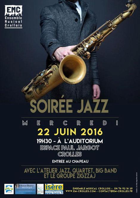 Ecole de musique à Crolles - Gresivaudan : affiche-soirée-jazz-22-juin-2016