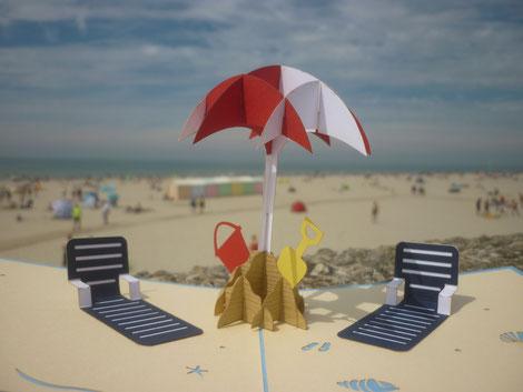 Carte Pop-Up été vacances à la plage