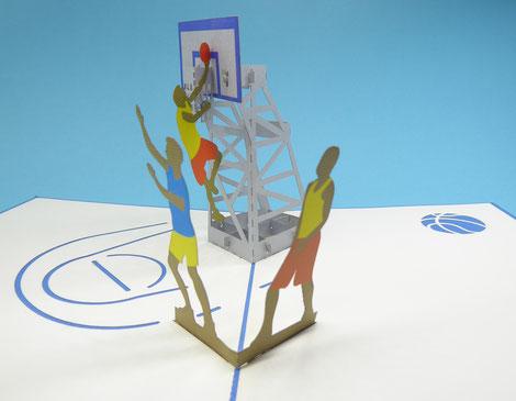 Carte pop-up basketball - carte d'anniversaire basket