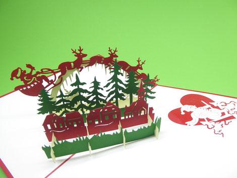 Carte pop-up Joyeux Noël père Noël 3D - Carte postale en papier découpé relief en kirigami