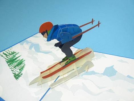 Carte pop-up skieur sur la piste - carte d'anniversaire sports d'hiver