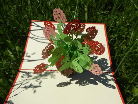 Carte postale pop-up bouquet de fleurs - carte kirigami fleurs - carte fêtes des mères - carte de remerciement