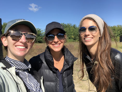 Caroline O'Riordan, Zsofia Szemeredy and Julia Tordai on the Budapest shoot of upcoming Amazon series, the Hunt produced by Pioneer Pictures, Monkeypaw Productions and Amazon Studios