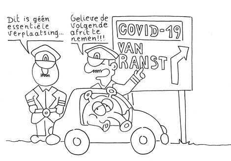 Dirk Van Bun Communicatie & Vormgeving - illustraties - tekeningen - cartoons - corona afrit van ranst
