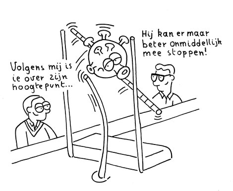 Dirk Van Bun Communicatie & Vormgeving - illustraties - tekeningen - cartoons - corona over het hoogtepunt
