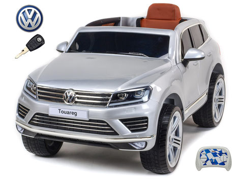 VW/Touareg/Kinderauto/Kinder Elektroauto/Kinderautos/Kinder Elektroautos/Kinder Auto/silber lackiert/lizensiert/