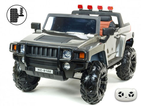 Simba HC 9118/Hummer/2 Sitzer/Kinderauto/Kinder Elektroauto/Kinder Fahrzeuge/silber metallic/