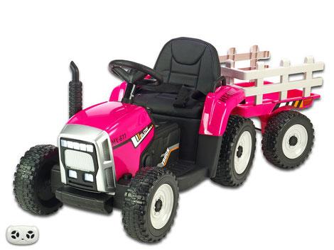 Traktor/Anhänger/2x45W/Kinder Baufahrzeug/Kinderauto/Kinder Elektroauto/Kinder Fahrzeug/pink/