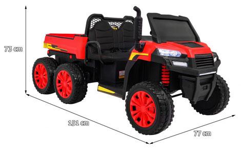 Dreiachskipper XXL/2 Sitzer/4WD/4x4/Kinder Baufahrzeug/Kinderauto/Kinder Elektroauto/Kinder Fahrzeug/rot/