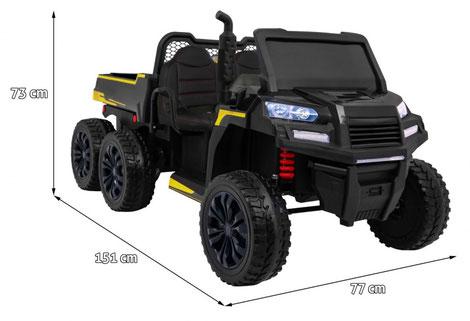 Dreiachskipper XXL/2 Sitzer/4WD/4x4/Kinder Baufahrzeug/Kinderauto/Kinder Elektroauto/Kinder Fahrzeug/schwarz/