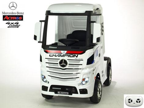 Mercedes/Actros/LKW/Sattelzugmaschine/2 Sitzer/Kinder LKW/Kinderauto/Kinder Elektroauto/lizensiert/weiß lackiert/