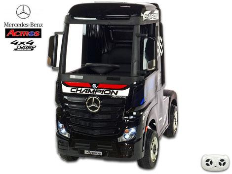 Mercedes/Actros/LKW/Sattelzugmaschine/2 Sitzer/Kinder LKW/Kinderauto/Kinder Elektroauto/lizensiert/schwarz lackiert/