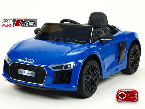 Audi R8 Spyder Sonderedition/2x 45Watt/Kinderauto/Kinder Elektroauto/blau lackiert/lizensiert/