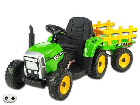 Traktor/Anhänger/2x45W/Kinder Baufahrzeug/Kinderauto/Kinder Elektroauto/Kinder Fahrzeug/grün/