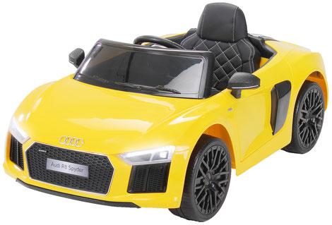 Audi R8 Spyder 2018/2x 45Watt/Kinderauto/Kinder Elektroauto/Kinderautos/Kinder Elektroautos/Kinder Auto/gelb/lizensiert/