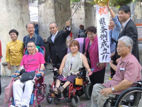 「祝 県条例成立!!」のくすだまを掲げる、条例の会のメンバーと県議会議員たち