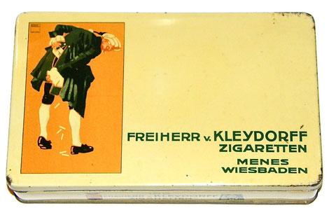 Freiherr v. Kleydorf MENES Zigaretten Wiesbaden toller Entwurf von Ludwig Hohlwein