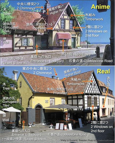 """『魔女の宅急便』のモデルとなった場所の国と街を旅行。スウェーデンのアニメ舞台を探訪して聖地巡礼。魔女宅のキキが住む家/パン屋のアニメと写真の比較画像。 Inspirational locations in which Kiki lives place in Sweden on the Ghibli anime movie """"Kiki's Delivery Service""""."""