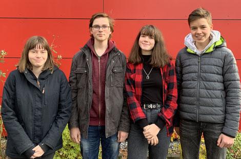 Medienscouts der ersten Generation (v. l.n.r.): Ileana, Johannes, Sejla, Manuel