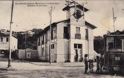 La stazione a valle, così come si presentava nei primi anni d'esercizio