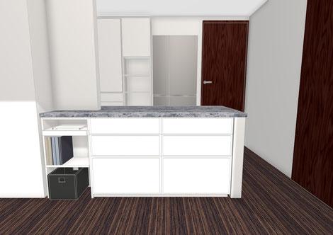 ダイニングカウンター下 収納家具 キッチン収納