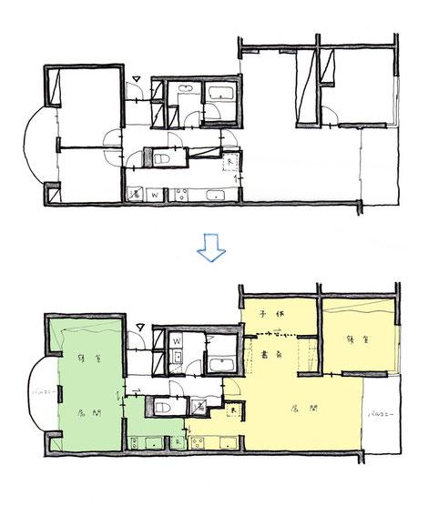 マンション住戸の二世帯住宅