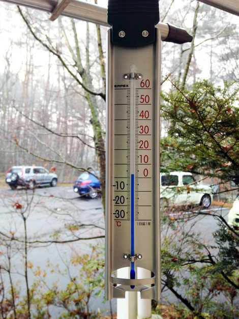 12月24日、朝8時の外気温、+3℃。