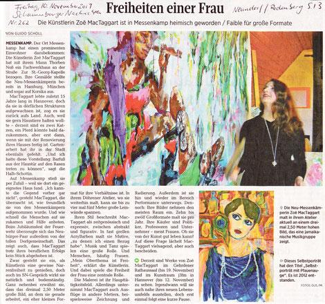 Artikel in den Schaumburger Nachrichten über den Umzug der Künstlerin Zoë MacTaggart nach Messenkamp