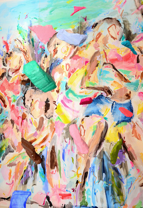 farbenfrohes Detail einer Kunstinstallation