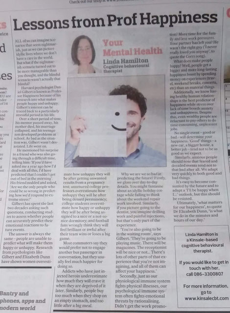 Linda Hamilton's Southern Star column on Daniel Gilbert's happiness research.