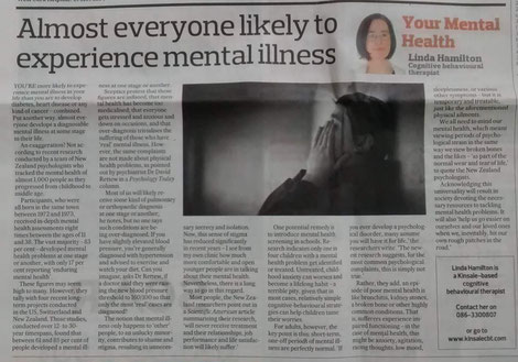 Linda Hamilton's Southern Star CBT column on the frequency of mental illness.