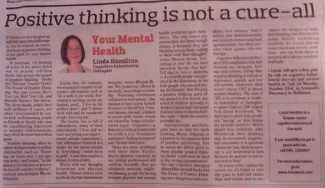 Linda Hamilton's Southern Star CBT column on the dangers of positive thinking.