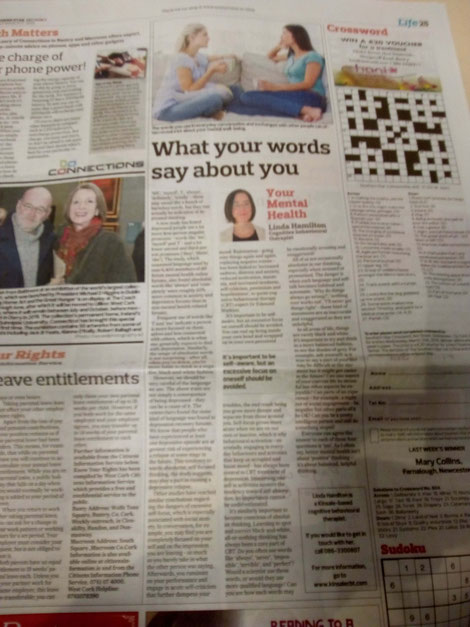 Kinsale CBT therapist Linda Hamilton's Southern Star column exploring the link between language and depression.