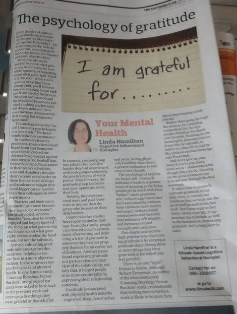 Linda Hamilton's Southern Star column on the psychology of gratitude.