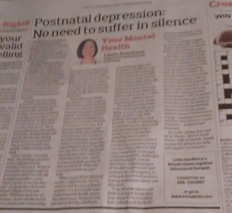 Linda Hamilton's Southern Star column on CBT for postnatal depression.