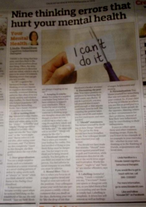 Kinsale CBT therapist Linda Hamilton's Southern Star column on cognitive distortions.