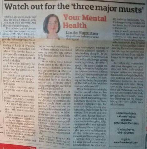 Linda Hamilton's Southern Star column on Albert Ellis, CBT and the 'three major musts'.