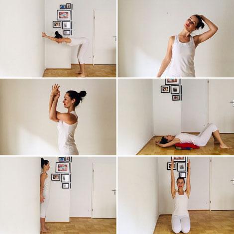 Katja Bienzeisler zeigt Yogaübungen, die den Nacken entspannen