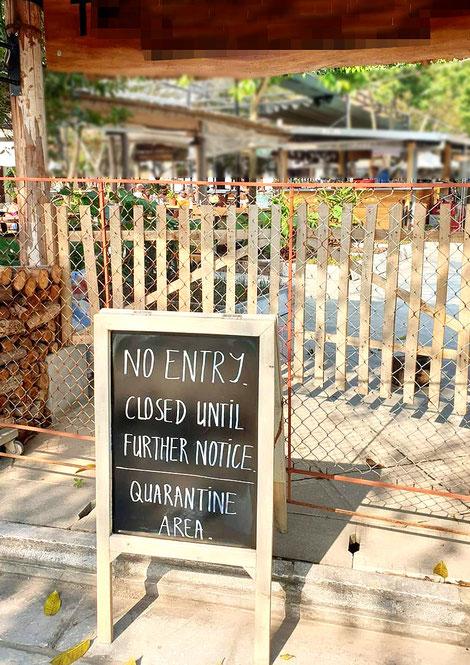 hotel-unterkunft-lodge-ninh binh-geschlossen-Quarantäne-geschlossen-tor-versperrt-hinweisschild-englisch-vietnam