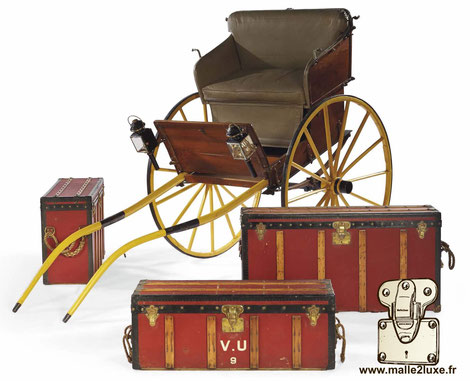 Removable horse-drawn carriage and Louis Vuitton trunks - € 133,500